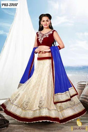 b03b190dcd2 Off White Maroon Blue Net Lehenga Choli - Pavitraa Sarees