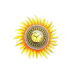 Yellow AKS Creations Designer Wall Clock, for Office