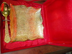 Gold Plated Tray With Spoon
