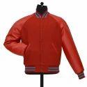 Men PU Leather Varsity Jacket