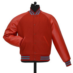 Plain Red Varsity Jacket -  Men