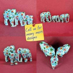 Wood Carving & Hand Painted Elephants
