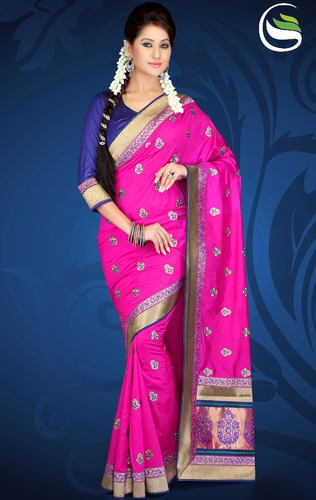 Party Wear Rani Pink Color Art Silk Saree With Blouse