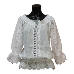 White Blouse - Half Sleeve White Blouse Exporter from New Delhi