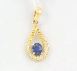 Sapphire Diamond Yellow Gold Pendant