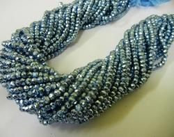 Tanzanite Blue Pyrite Gemstone Faceted Rondelle Bead Strands