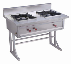 Alister Stainless Steel Two Burner Cooking Range, For Hotel