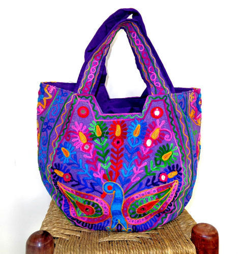 Indian Traditional Peacock Embroidered Handbag  Shoulder Bag ... 5f0ec9389038f