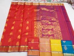 Fancy Silk Saree with Tissue Border