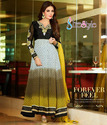 Black and Off White Long Anarkali Suit