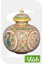 Vaah Home Decor Marble Big Meenakari Pot
