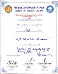 Metalliferous Mines Safety Week Certificate 2010