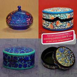 Hand Painted Paper Mache Round Boxes - Trinket Boxes