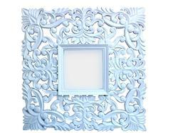 Wooden Cutting Square Carved White Mirror