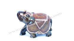 Wooden Trunk Up Elephant With Antique Finish