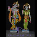 Marble Lord Radha Krishna Statue with Gold Ornaments