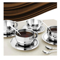 Stainless Steel Double Wall Coffee Cup Saucer Set