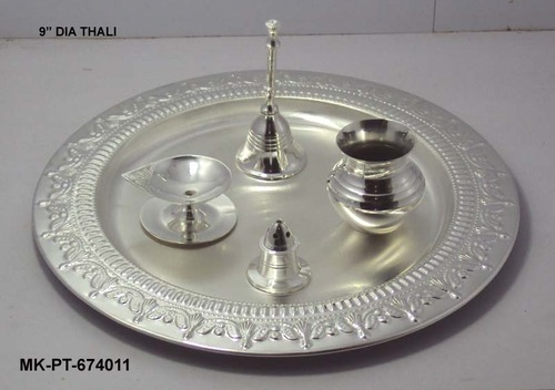 Brass Silver Plated Pooja Thali & Brass Silver Plated Pooja Thali Silver Plated Puja Thali - M. K. ...