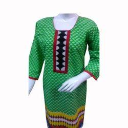 Green Printed kurti