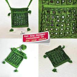 Green Mirror Work Drawn String Sling Bag