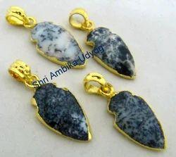 Dendrite Opal Arrowhead Charm Pendant