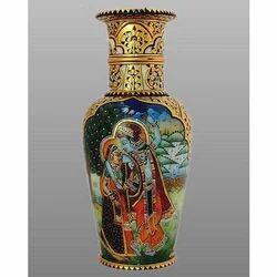 Indoor Golden Marble Pots & Vase, For Decoration, Size: Height 25 Cm