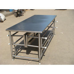 Stainless Steel Canteen Table With Foldable Bench