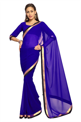 d78650dd833fcf Dark Blue Faux Georgette Saree - View Specifications & Details of ...