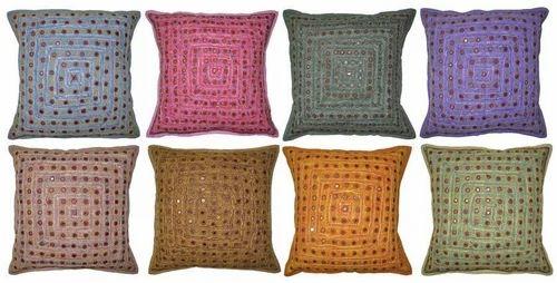 db05e7c4e7 Indian Cotton Cushion Pillow Cover Embroidery & Mirror work ...