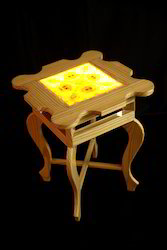 Pinewood Stool with Lamp
