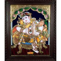 Krishna with Gopis Tanjore Painting
