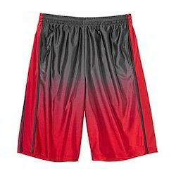 Black And Red Polyester Basketball Shorts