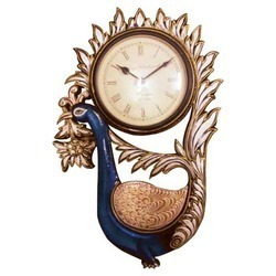 Wood Carving Peacock Wall Clock