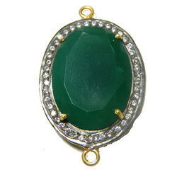 Green Onyx Pave Setting CZ Connector
