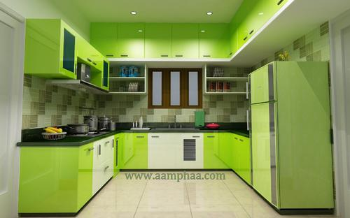 green color kitchen ideas in chennai, arumbakkamaamphaa