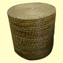 Round Lidded Wicker Laundry Basket