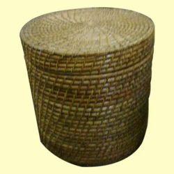 Round Lidded Wicker Laundry Basket
