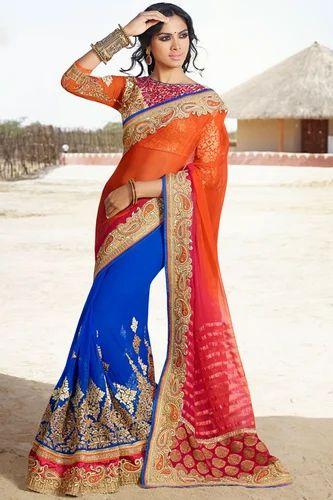 8c90f33b4 Orange Wedding Bridal Saree