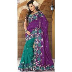Purple and Teal Art Silk Saree