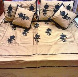 designer silk bed cover set with pillows