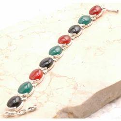 Sterling Silver Green Onyx/Black Onyx in 925 Bracelet