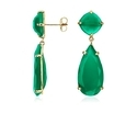 Green Onyx Sterling Silver Prong Set Earring