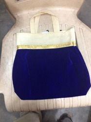 Blue Velvet Handle Bag