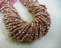 Dark Pink Pyrite Gemstone Faceted Rondelle Bead Strands