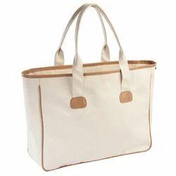 Off White Plain Canvas Bag with Self Handle, Size: 32 x 36 x 13 cm