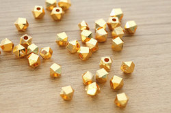 Gold Plated Faceted Nuggets Beads