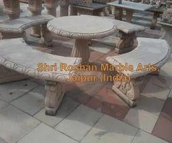 4 Feet Length X 1.5 Feet Wide X 1.75 Feet High X 3 Benches + 2.5 Feet High Table X 3 Feet Diameter Garden Stone Furniture