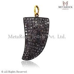 14k Gold Pave Diamond Horn Charm Pendant