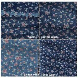 7.90 Oz Floral Printed Denim Fabric