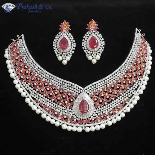 Prakash American Diamond Designer Bridal Necklace Rs 4100 Piece